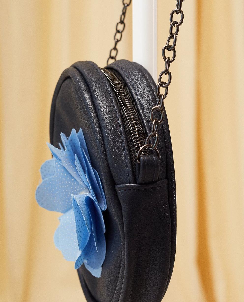Handtaschen - Aqua - Schultertasche mit Blume